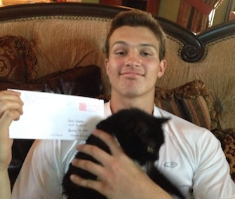 J.T. Granato committed to play football at Rice University after a coach sent a letter to his cat.