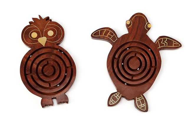 wooden animal labyrinths