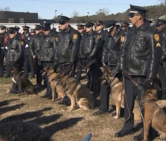 Fellow K9 officers were among those who attended K9 Krijger's funeral this week.
