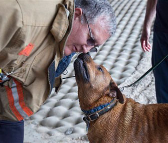Wichita Fire Department Capt. Michael Wells gets a kiss from Taz after he was rescued by firefighters.