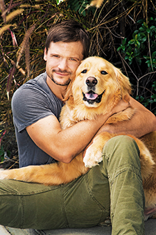 Bailey Chase with his dog, Blue.