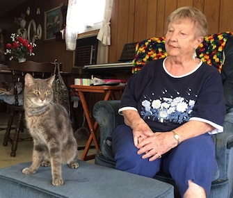 Mokey was reunited with Jeannette Haskins after surviving five weeks lost in the woods.