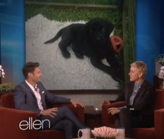 Ryan Seacrest shows off his new puppy, Georgia, on the Ellen DeGeneres Show.