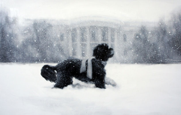 A painting of Bo Obama running through the snow is featured on the White House holiday card.
