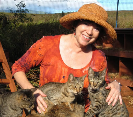 Kathy Carroll with cats at LARC