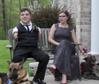 Michigan high school seniors Delaney Johnson and Nick Ackerman brought their service dogs to their proms.