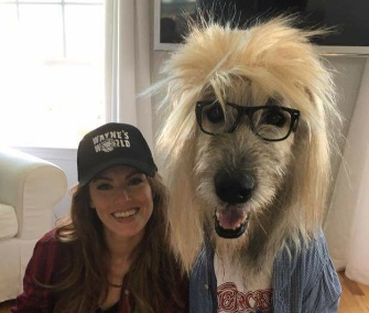 Former Miss Delaware Kate Banaszak and her Irish Wolfhound make a perfect Wayne and Garth.