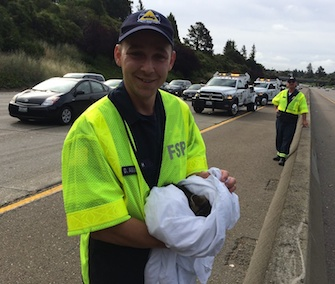 California Freeway Service Patrol workers rescued a kitten from a car's wheel well on a highway Monday.
