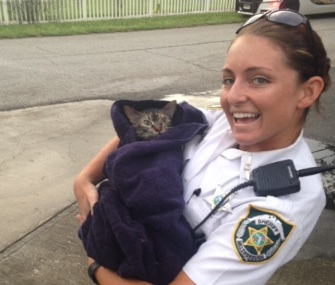 "Deputy Amanda ""Brooke"" Talbot saved the life of a cat after a blaze in its home."
