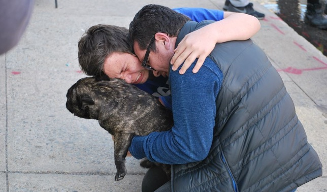 French Bulldog Sebastian was rescued by Hackensack, New Jersey, firefighters and reunited him with his emotional owners.