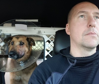Hero K9 Blade is recovering from surgery after saving the life of his human partner.