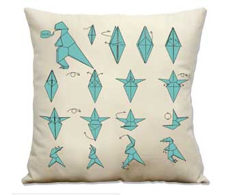 pillow with origami trex
