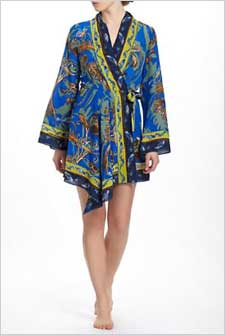 silk bird robe on model