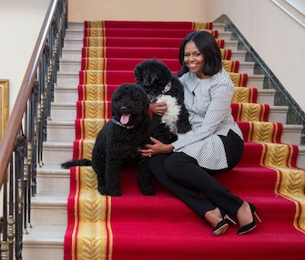 Michelle Obama took one last walk around the White House with her dogs on Wednesday.