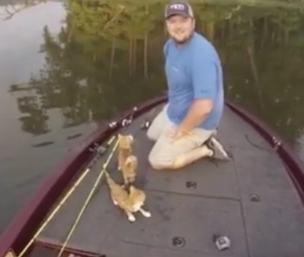 Two men who were out fishing saved a pair of kittens from an Alabama river Saturday.