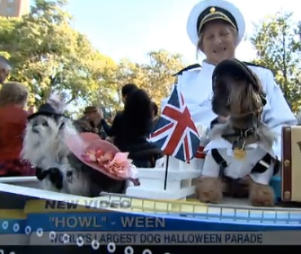 This Titanic display took the Best in Show award at the 24th annual Tompkins Square Halloween Dog Parade.