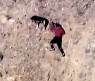 Hiker and dog on cliff