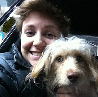 lena dunham with dog