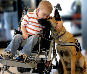 Lucas Hembree with his service dog, Juno, in 2012.