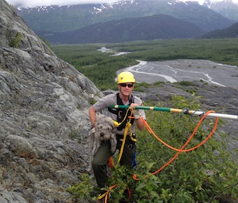 Sadie the dog was rescued from a cliff at Kenai Fjords National Park by ranger John Anderson.