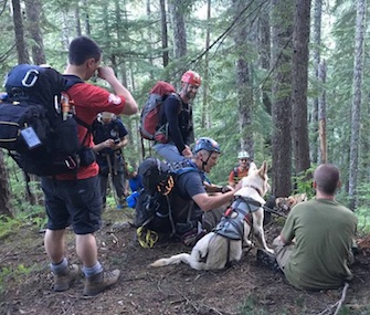 Balta takes a break with her owner and rescuers after bring saved from a ravine in Washington.