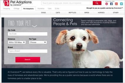 Overstock.com pet adoption site