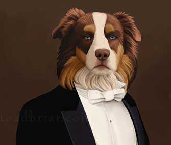 painting of a dog in a tuxedo
