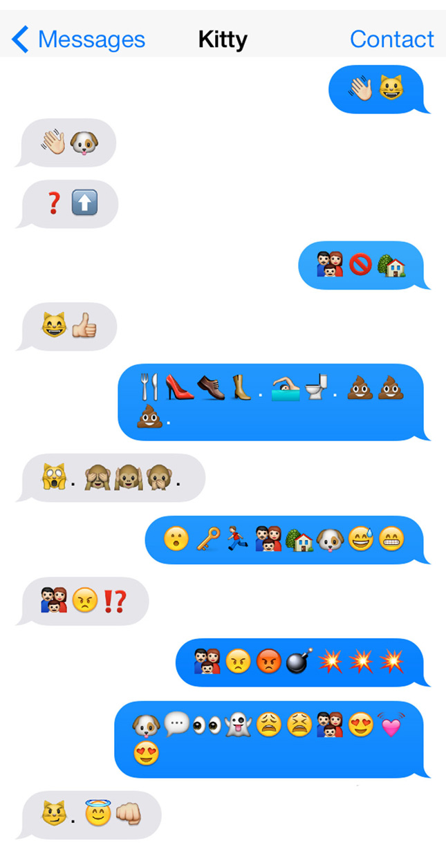 An emoji conversation between a cat and a dog