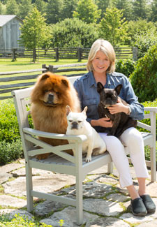 Martha Stewart poses with her dogs