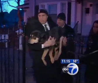 Newark, N.J., Mayor Cory Booker saves a shivering dog.