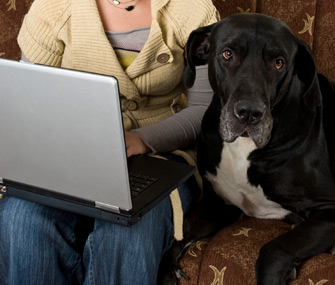 Teen With Dog and Laptop