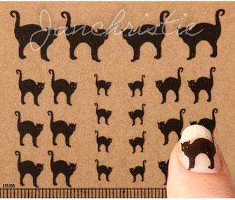black cat nail art