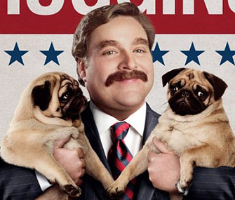 Galifianakis' Marty Huggins with Pugs