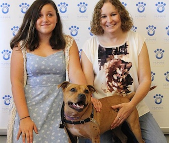 Effie was happy to go home with her rescuer, Pittsburgh Police Officer Christine Luffey, and her daughter, Katrina.