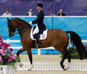 Jan Ebeling rides Rafalca in her opening Olympic dressage performance.