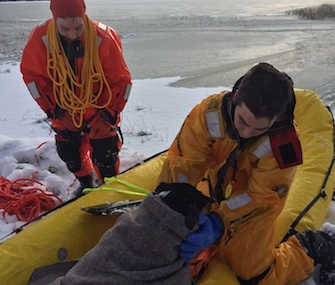 Rescuers pulled Bailey into a banana boat on Little Grand Lake in Minnesota.