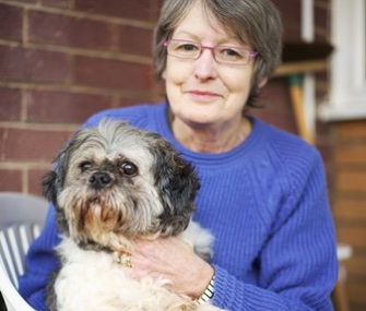 Lyn Kirkwood called the fire department for help when she noticed her dog, Cagney, was trapped in a recliner.