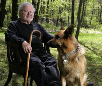 Maurice Sendak and his dog Herman