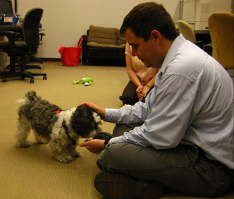 A staff member at the library interacts with Cooper