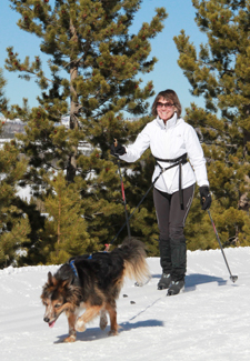 woman skijoring with dog in the snow