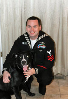 a marine with his dog