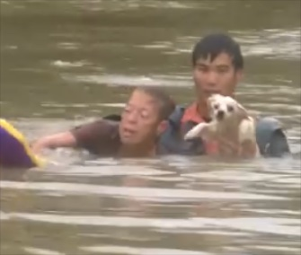 A woman and her dog were rescued just before their convertible sank into floodwaters in Baton Rouge.