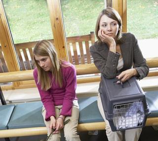 Worried pet owners in waiting room