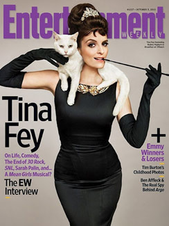 "Tina Fey and cat featured on ""Breakfast at Tiffany's"" Inspired Entertainment Weekly cover"