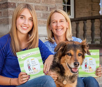 Mimi Ausland, left, sits with Maty the dog and Ausland's mom, Brooke Smith, author of Mimi and Maty to the Rescue.