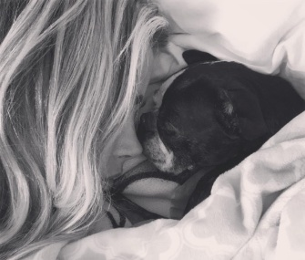Denise Richards shared this photo of herself with her Boston Terrier, Nana.