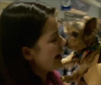 Grisel Jaramillo was reunited with her Yorkie, Bailey, in Texas Thursday.