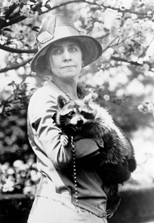 Mrs. Coolidge with Rebecca the raccoon