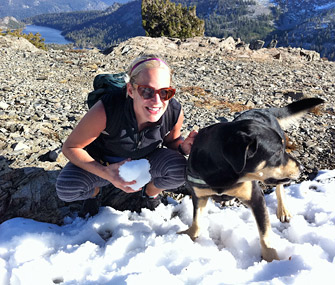 Dr. Patty Khuly on mountain with her dog