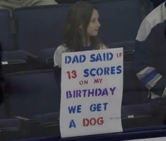 Maddie Wright will get a rescue puppy thanks to the Blue Jackets' Cam Atkinson, who scored three goals Monday night.